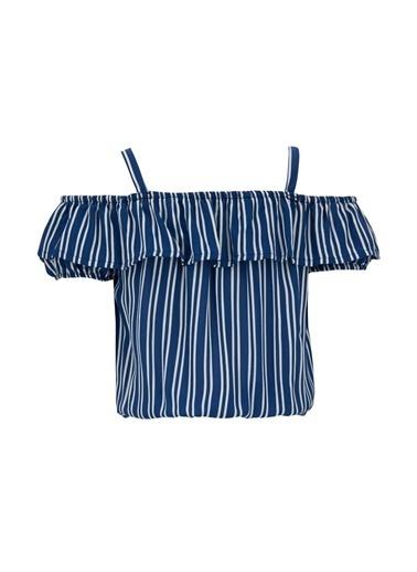 DeFacto Kız Çocuk Çizgili Volanlı Kısa Kol Bluz Mavi